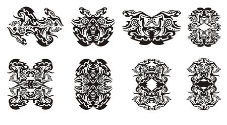 dragon tribal: Tribal dragon frames and double dragon sings with circle