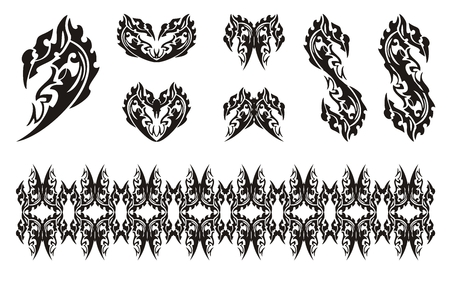 dragon head: Black dragon head symbols in tribal style. Dollar dragon form, dragon hearts, dragon butterfly and dragon stripe Illustration
