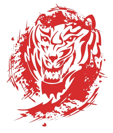 growling: Flaming tiger roar. Tribal tiger head with blood drops splashes