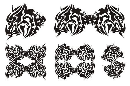 cabeza de dragon: Cabeza de drag�n tribal con la mariposa. Flaming drag�n de cuernos, marco de drag�n y la forma en d�lares de un drag�n. Negro en el blanco