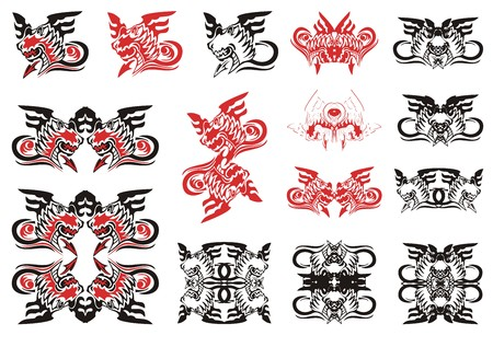 winged dragon: Dragon set. Red and black options. Winged dragon with a tail in the form of an arrow in tribal style