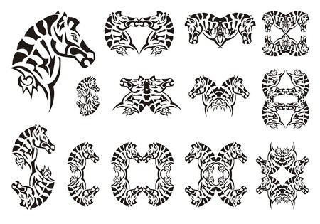cabeza de zebra: Tribal zebra head symbols. Set of vector zebra head on a white background. Tattoo, symbol, zebra frame or element