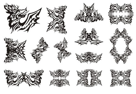horned: Tribal deer dragon symbols. Cervine horned furious dragon with wings, frames of a dragon and symbols from it