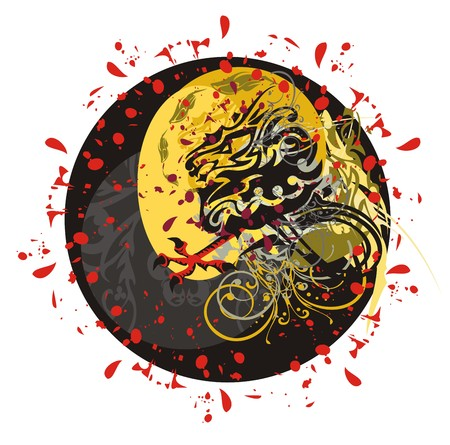 blood drops: Grunge twirled dragon circle. Furious dragon with an eagle paw with blood drops and floral elements against the sun Illustration