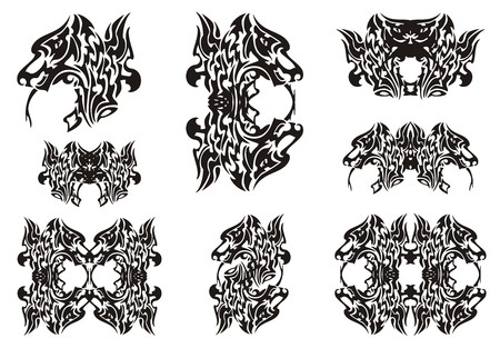 twirled: Dragon head symbols. Tribal dragon head frames and double dragon symbols. Black on the white