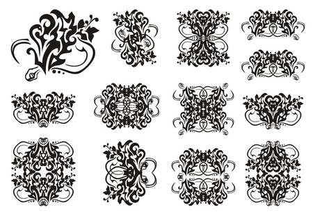 adder: Decorative snake symbols in tribal style. Set of snake symbols and frames. The coiling snake in a grass