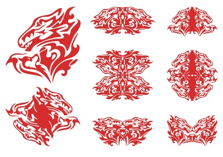double headed: Flaming dragon heart and symbols from it. The heart formed by the dragon head and-headed doggy and double symbols from it in tribal style