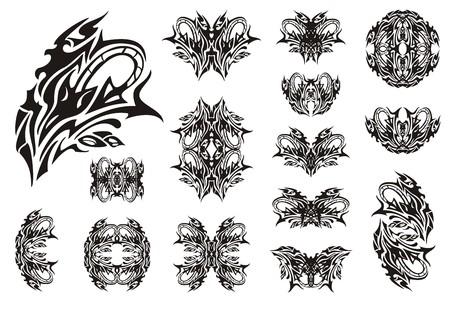 adder: Decorative snake symbols. Set of snake symbols, butterflies and frames. The coiling snake in a grass Illustration
