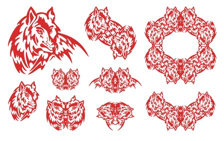 Red wolf symbols. Set of the flaming symbols of the wolf head and wolf frame in tribal style Illustration