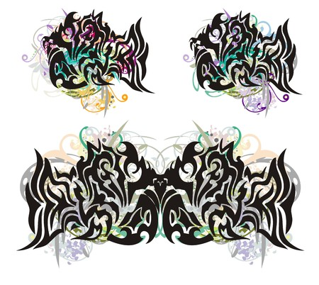 twirled: Tribal fish splashes. Grunge awful tribal fish splashes with floral elements. Three options