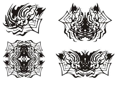 nonuniform: Tribal spider symbols. The spider inspiring fear in a web