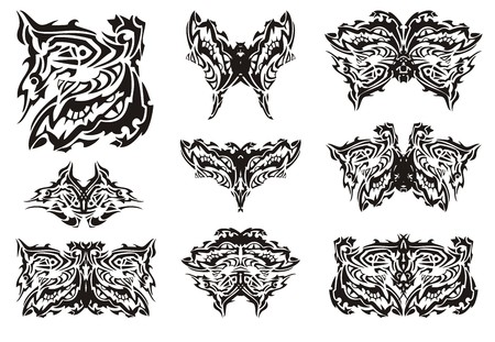 decorative fish: Tribal ornate butterfly wings. The terrible wing of a butterfly a peacock eye formed by decorative fish and abstract eyes