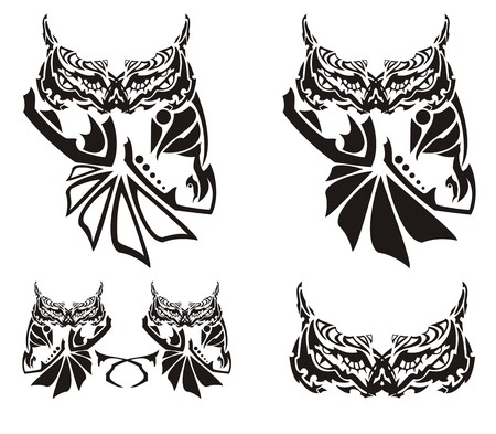 Ornate owl symbols in tribal style. The sitting wise owl can be used as an emblem, a tattoo, t-shirts design, etc. Illustration