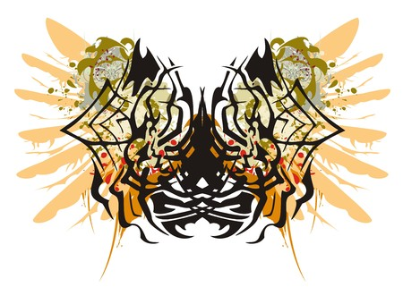 spinning: Grunge spider butterfly and grunge women. Spider in a web - splashes in a womans face with the head and a wing of an eagle in tribal style