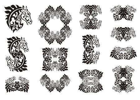 ungulate: Tribal horse set. Symbols and frames of the horse head. Black on the white Illustration