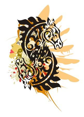 símbolo tribal del caballo del grunge. Doble símbolo de cabeza de caballo negro - salpicaduras en la cara de una mujer con la cabeza y un ala de un águila en el estilo tribal
