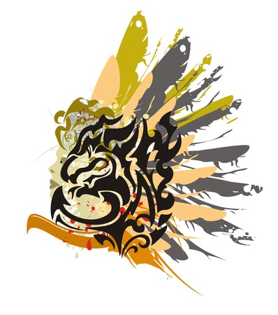twirled: Grunge black dragon symbol - splashes in a womans face with the head and a wing of an eagle in tribal style