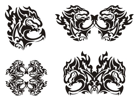 twirled: Flaming black dragon. I twirled dragon symbols. Black on the white