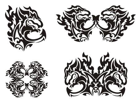tribal dragon: Flaming black dragon. I twirled dragon symbols. Black on the white