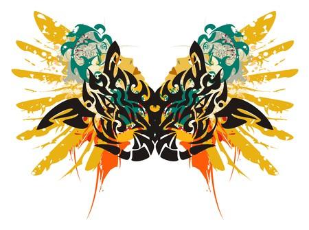 éclaboussures de dragon noir. Grunge symbole de double dragon - éclaboussures dans le visage d'une femme avec la tête et une aile d'un aigle dans le style tribal