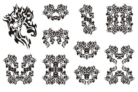 deer in heart: Deer symbols in tribal style. Black on the white. Flaming decorative deer head symbols for your design