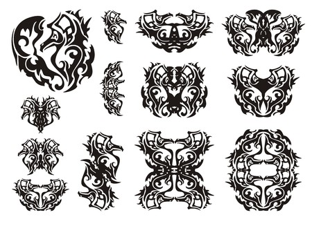 flaming heart: Tribal sea horse heart and symbols from it. Decorative elements of a sea horse. Black on the white