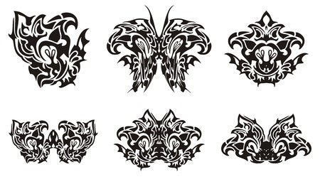 twirled: Black butterfly wing and decorative symbols from it. Flaming twirled butterfly wing, tribal butterfly and floral symbols