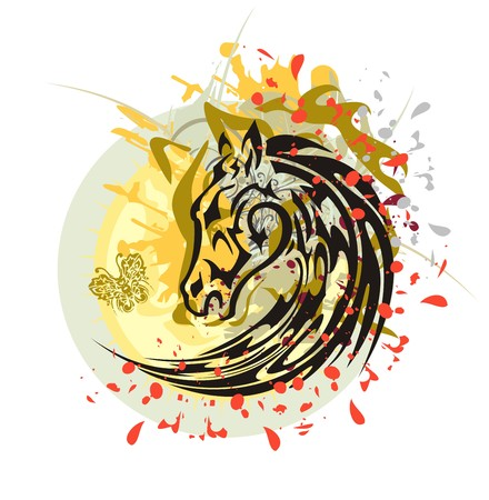 ungulate: Tribal horse splashes against the sun. Flaming black horse head with the wolf head, floral splashes and blood drops against the decorative sun with a butterfly