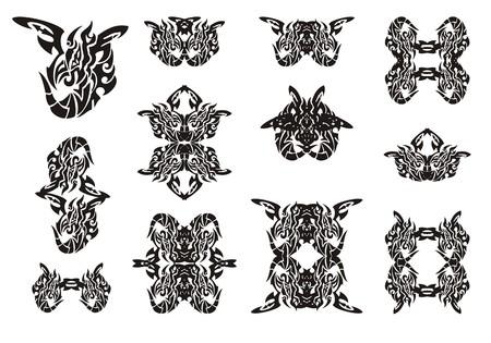winged dragon: Tribal winged dragon symbols. Black on the white. Flaming ornate freakish dragon set