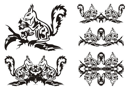 artful: Tribal squirrel symbols. Ornate squirrel sitting on a branch of a tree with a nut. Black on the white