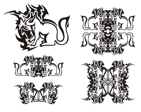 Tribal flaming squirrel symbols. Black on the white. Set of the decorative sitting squirrels