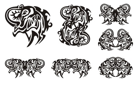 Tribal elephant head symbols. Muzzle of an elephant with the trunk lifted up and symbols from it