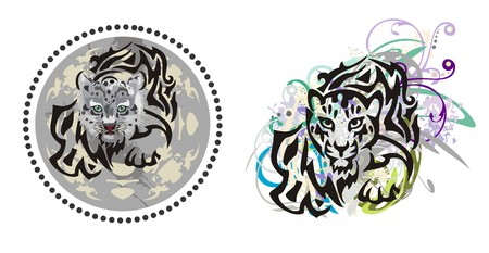 snow leopard: Grunge young leopard. Cub of a snow leopard in a circle and leopard splashes. Two options Illustration