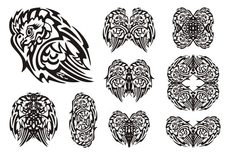 flaming heart: Tribal owl symbols. Double owl symbols, owl hearts and owl frame