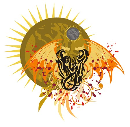 open flame: Grunge dragon against the ornate sun. Tribal flying dragon with blood drops against the rising decorative sun