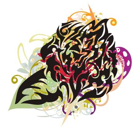 Grunge rose. Floral splashes in the decorative blossomed smart rose
