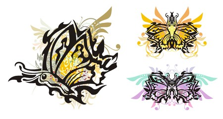 open flame: Grunge butterflies. Tribal flying butterflies with floral elements