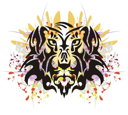 stately: Tribal tiger head splashes. Grunge old tiger head with colorful splashes and blood drops