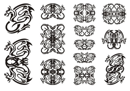 twirled: Tribal winged dragon symbols. Twirled ornate dragon set