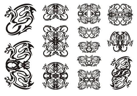 tribal dragon: Tribal winged dragon symbols. Twirled ornate dragon set