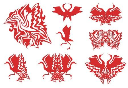 wader: Tribal red stork symbols. Set of the flaming symbols of the flying and walking stork, double stork symbols