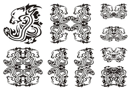 twirled: Tribal lion head with a snake. Set of the double twirled symbols of the lions head with a snake