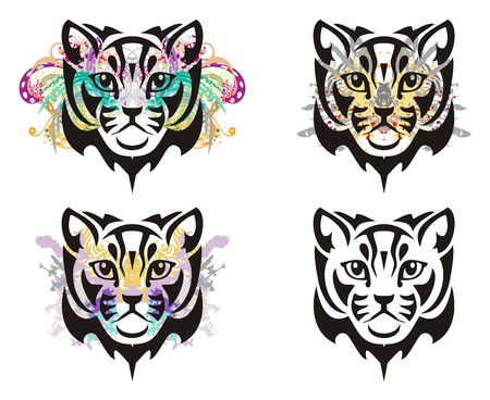 Grunge cat head. Tribal cat head splashes with floral elements and blood drops. Four options Illustration