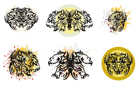 awful: Grunge awful tribal wings. Butterfly wings formed by the head of a rhinoceros and lion with colorful floral splashes, blood drops and against the decorative sun Illustration
