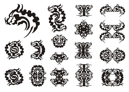 black and white dragon: Tribal dragon head symbols. Big collection of aggressive dragon symbols with a horn. Black on white