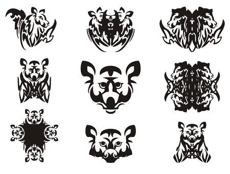 cabeza de animal imaginario y símbolos de la misma. cabeza de la tribu imaginaria de un animal con alas, la cabeza de un mapache, una cruz y otros símbolos dobles Ilustración de vector