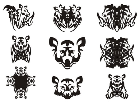 cross and wings: Imaginary animal head and symbols from it. Tribal imaginary head of an animal with wings, the head of a raccoon, a cross and other double symbols