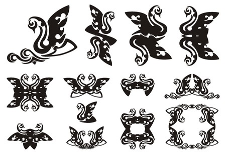 Tribal swan symbols. Black swan with a wave, frames and double swan symbols Illustration
