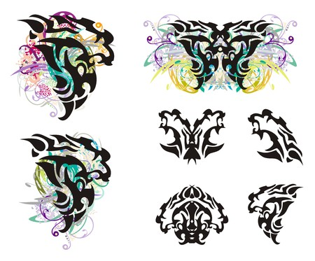 furious: Grunge lion head and lion head symbols. Tribal head of a furious lion in the form of a wing of a butterfly, a butterfly of a lion and lions symbols isolated on a white background