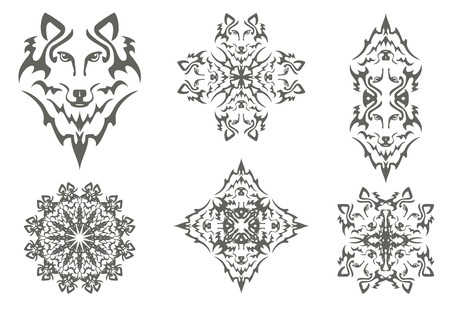 gray wolf: Tribal wolf symbols. The head of a wolf, cross of a wolf, flower of a wolf and double symbols of the head of a wolf isolated on a white background